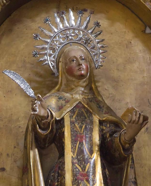 Até a grande Santa Teresa de Jesus teria passado pelo Purgatório para purgar faltas menores. Imagem do mosteiro da, Encarnação de Ávila, capela da Transverberação.