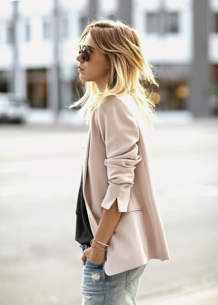 Wearing a Pastel Pink Blazer for Autumn 2014