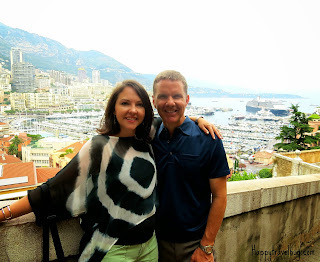The Happy Travel Bug and her husband in Monaco
