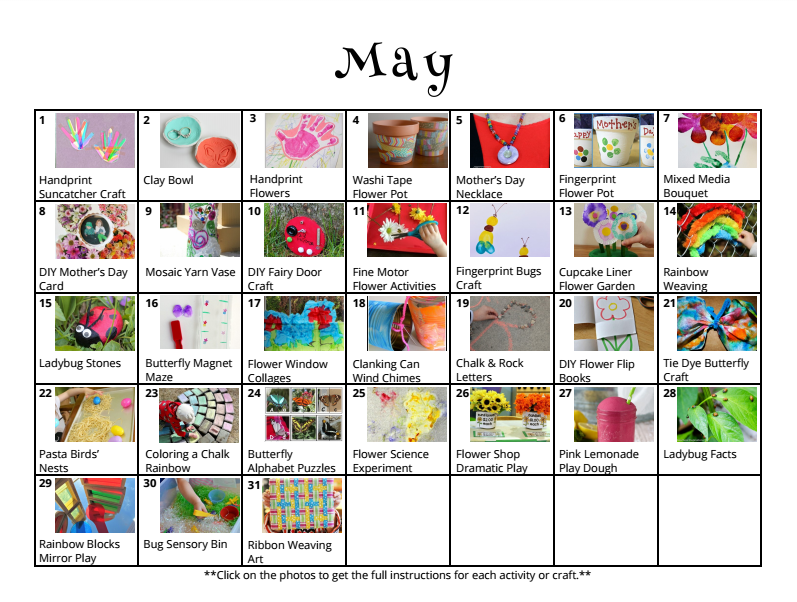 Free downloadable activity calendar for kids for the month of May from And Next Comes L