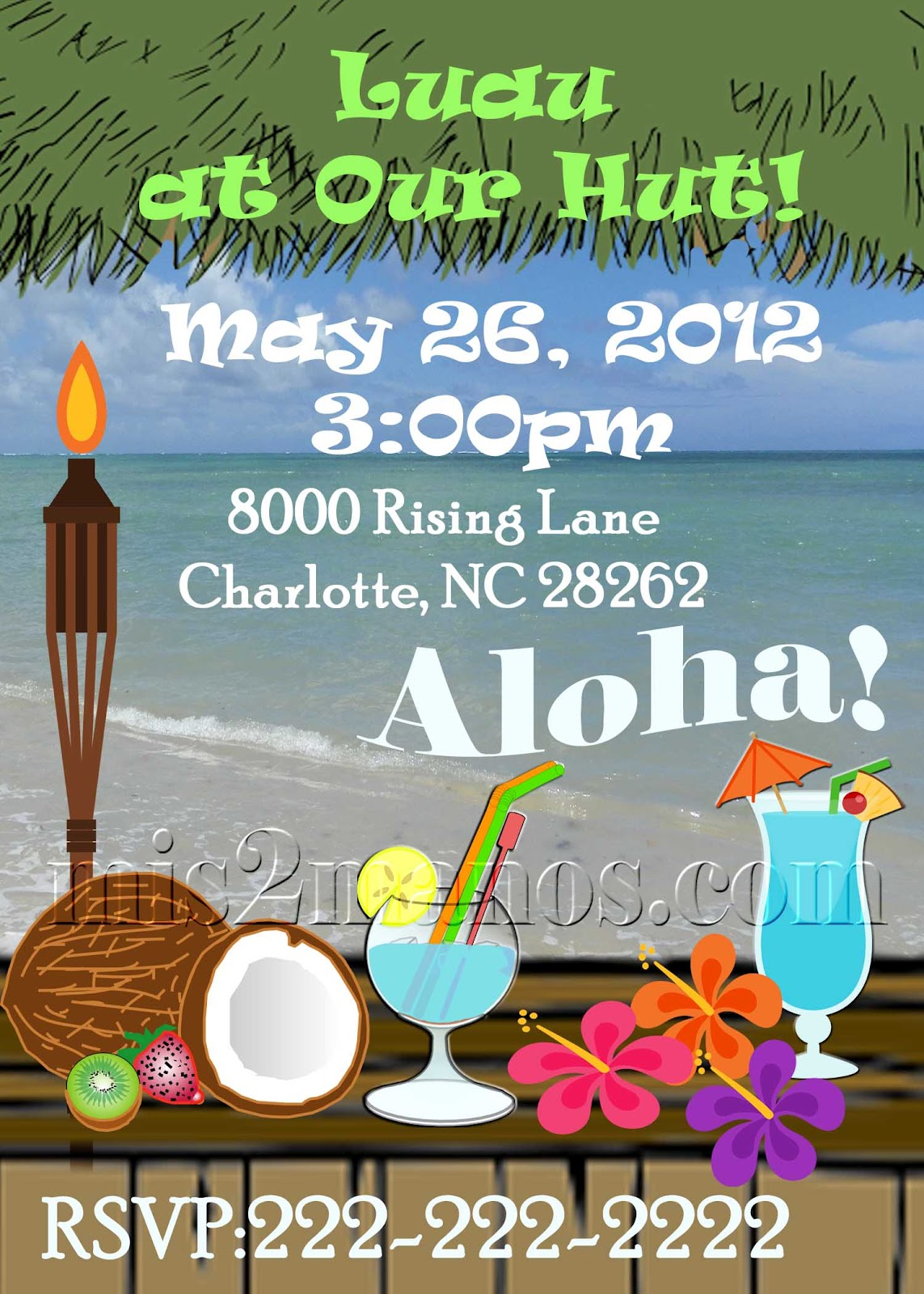 mis 2 manos  made by my hands  beach party luau invitations