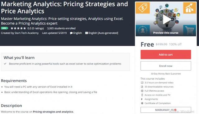 [100% Off] Marketing Analytics: Pricing Strategies and Price Analytics| Worth 199,99$