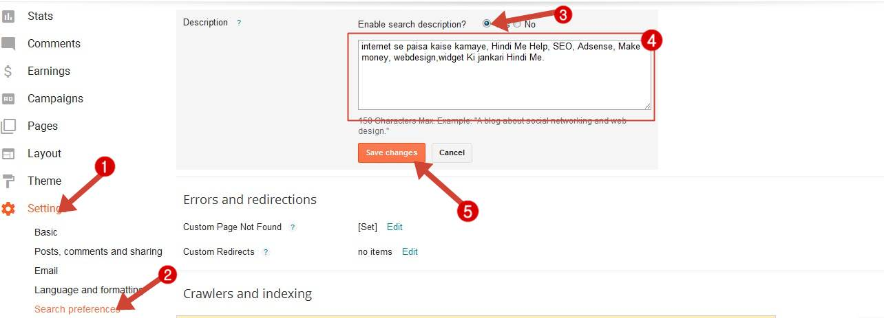 Blogspot Blog Me Advanced SEO Settings Kaise Enable Kare - Search Engine Guide