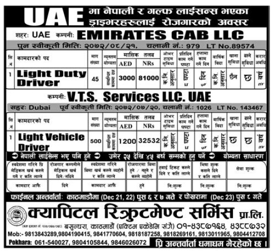 Jobs in UAE for Nepali, Salary Up to Rs 81,000