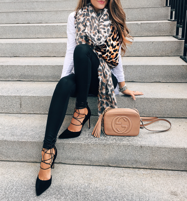 Leopard scarf, faux leather leggings, lace-up heels