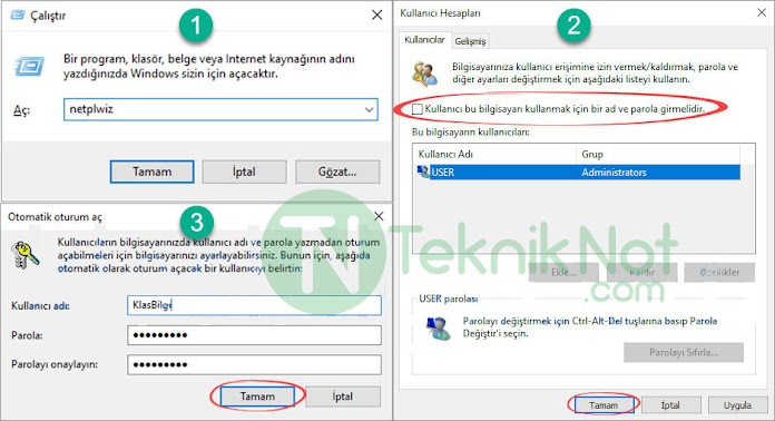 Windows 10 sadece açılışta şifre sormasın