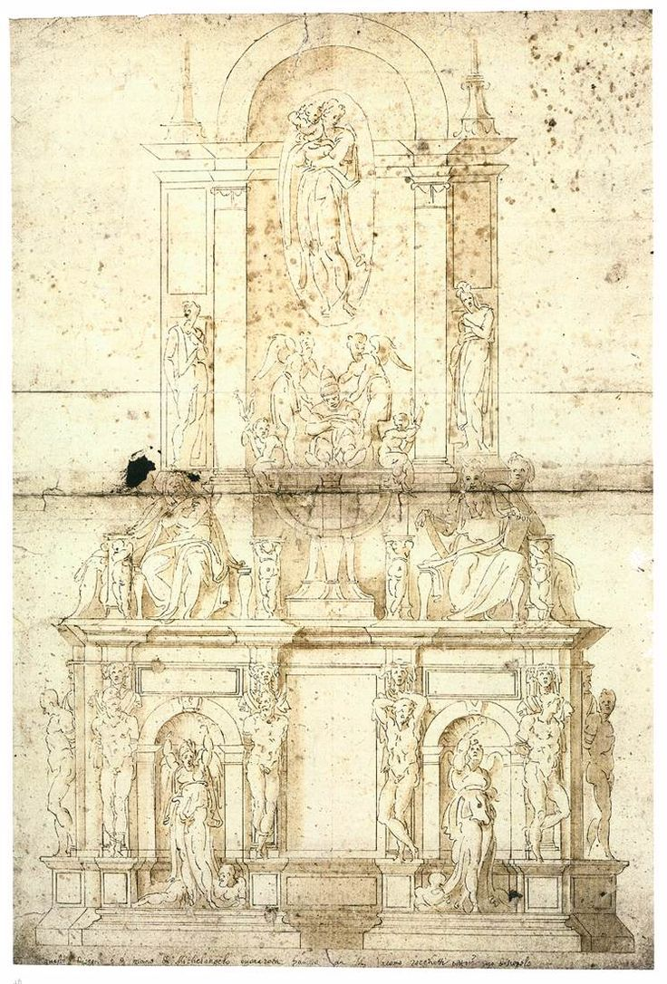 Tomb for Pope Julius II, sketched by Michelangelo