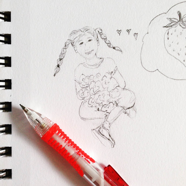 Anne Butera, My Giant Strawberry, Sketches, pencil, sketchbook, drawing
