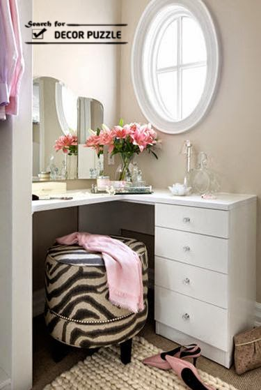 modern dressing table designs for small bedroom, corner dressing table