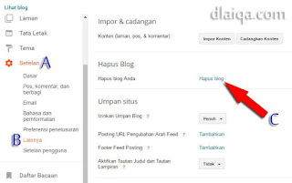 klik 'Hapus blog'