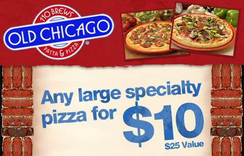 Old Chicago Coupon Codes. Lunch, dinner or late-night, Old Chicago has something for everyone. And the pizza. They're talkin' real deep dish with made-from-scratch-dough. Or if it's a pasta dish, calzone, salad, burger or sandwich you crave, they've got you covered. Choose from beers from around the world.