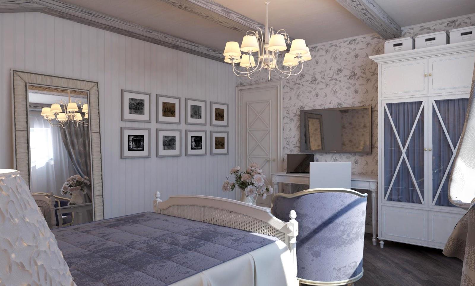3d design bedroom in the style of provence for Arredamento stile provenzale