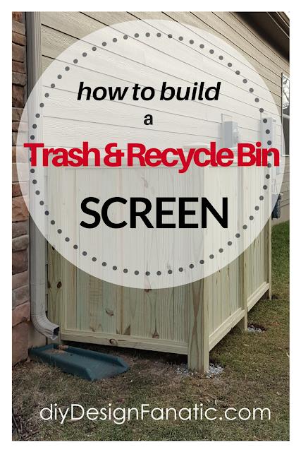 How to build a trash and recycle bin screen, trash enclosure, trash screen, diyDesignFanatic.com