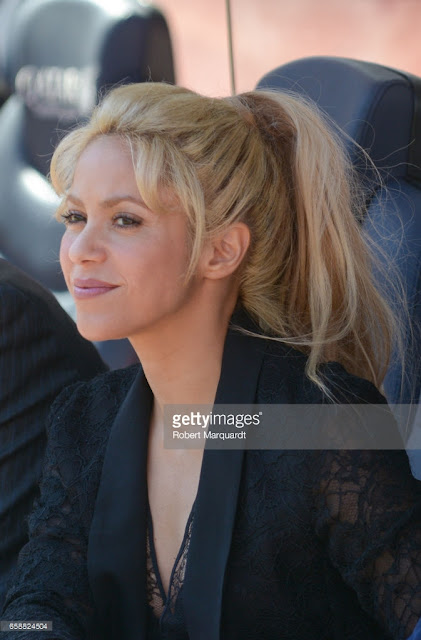 Shakira at a press conference at the Camp Nou