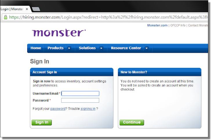 Gameover ZeuS Trojan Targets Users of Monster.com Employment Portal