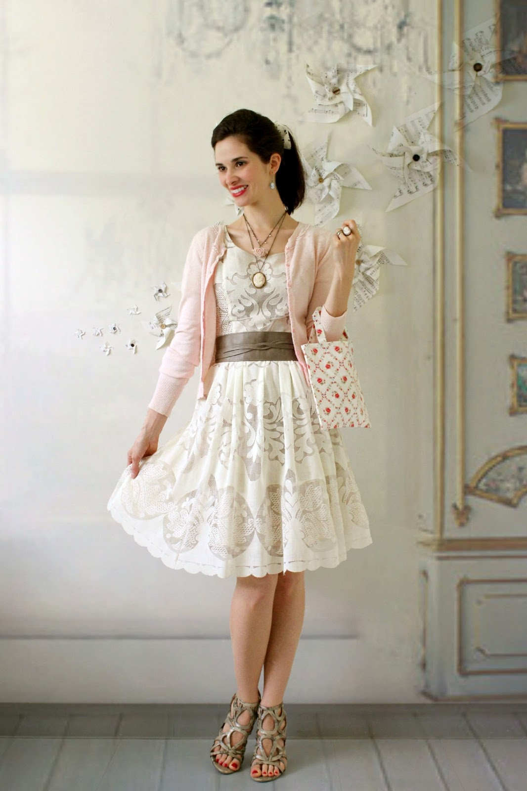 618fc4dffe54 I started with my Ivoire lace dress by Tracy Reese and a pink beaded  cardigan. Even though these two pieces are both solids, the lace provides  texture and ...