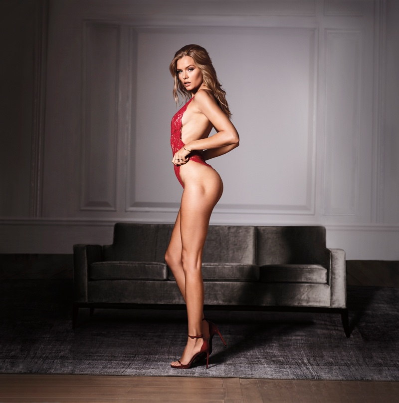 Josephine Skriver flaunts her figure in Victoria's Secret Very Sexy crossback lace plunge teddy