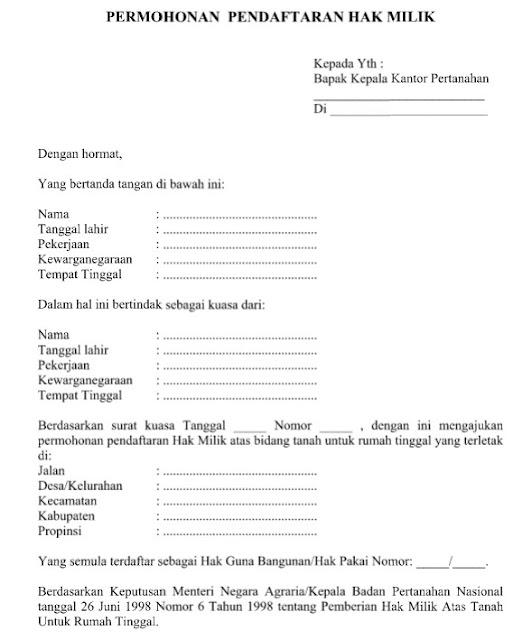 Contoh Surat Permohonan Pendaftaran Hak Milik Format Word