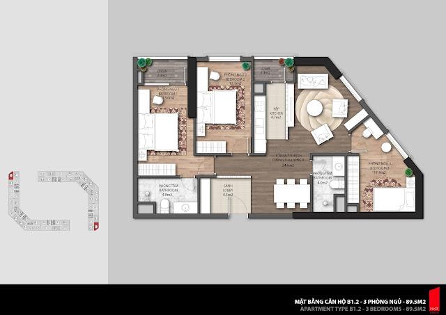 Thiết kế căn B1.1 - 89,5m2 chung cư The Emerald