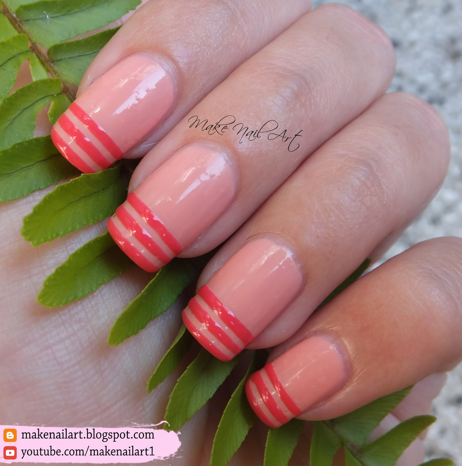 Make Nail Art: French Manicure With Stripes Nail Art ...