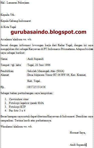 Contoh Contoh Surat Lamaran Kerja Karyawan Minimarket Indomaret Dan
