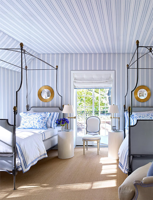 Bruce Budd Design stripped blue and white bedroom