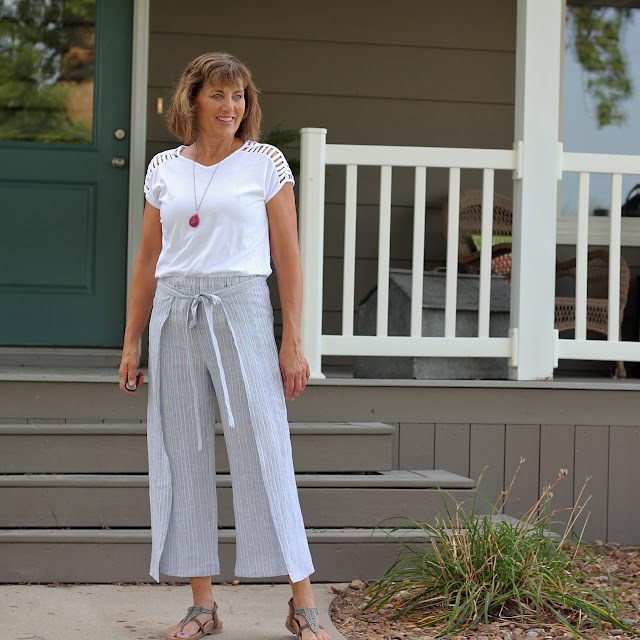 Mood Fabrics' Pinstripe Linen for wrap pants using Simplicity 8134