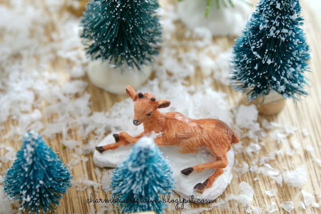 mini reindeer bottle brush trees faux snow