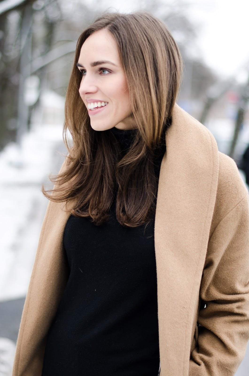 brown coat black turtleneck sweater