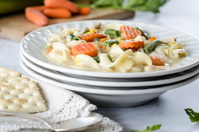 Make this easy Creamy Chicken Noodle Soup for supper tonight!  Find the slow cooker recipe at www.andersonandgrant.com
