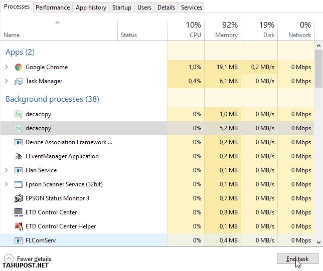 Task Manager, End Task Processes - Cara Menghapus File yang Tidak Bisa Dihapus