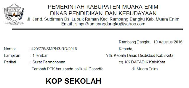 Surat Permohonan Tambah PTK Baru Pada Dapodik 2018