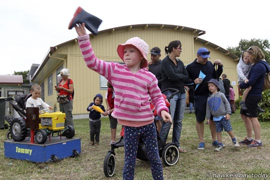 Isla Fergus, 6, Havelock North, throwing a gumboot - Hundreds of bargain-hunters, fun fanatics and supporters descended on the annual Hohepa Country Fair in Clive. photograph