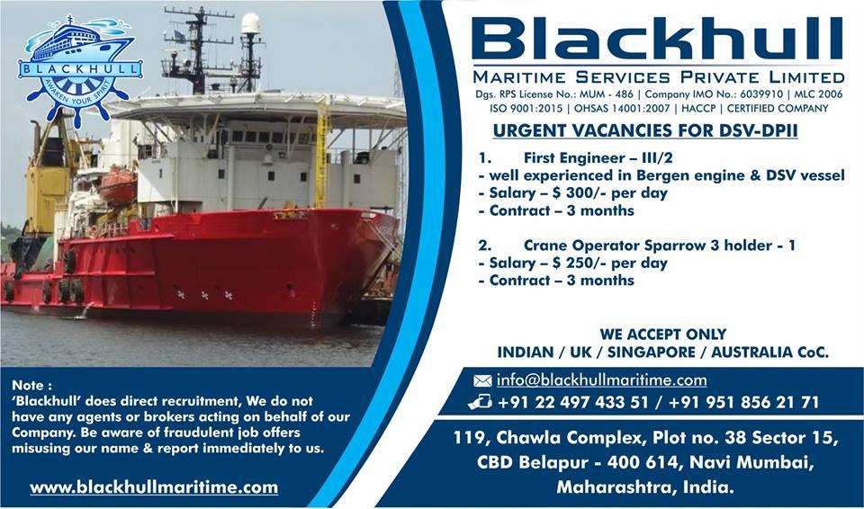 First Engineer, Crane Operator For Offshore DSV-DPII Vessel - Seaman