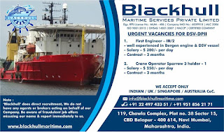 urgent job hiring for Indian seaman work at offshore vessel