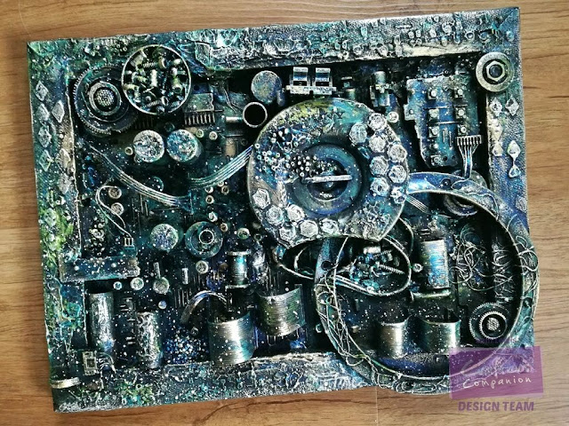 Assemblage piece by Sam Lewis using a deconstructed Hi-fi and Pebeo paints!
