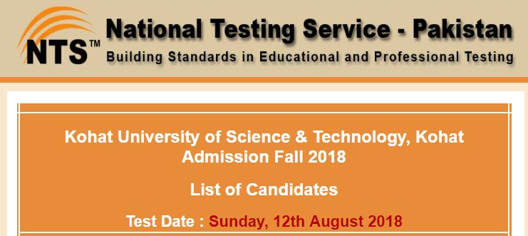 NTS Admission Fall 2018, Kohat University of Science & Technology