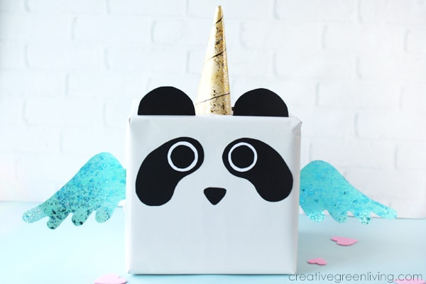 How to make a pandacorn panda unicorn valentine box from a recycled box