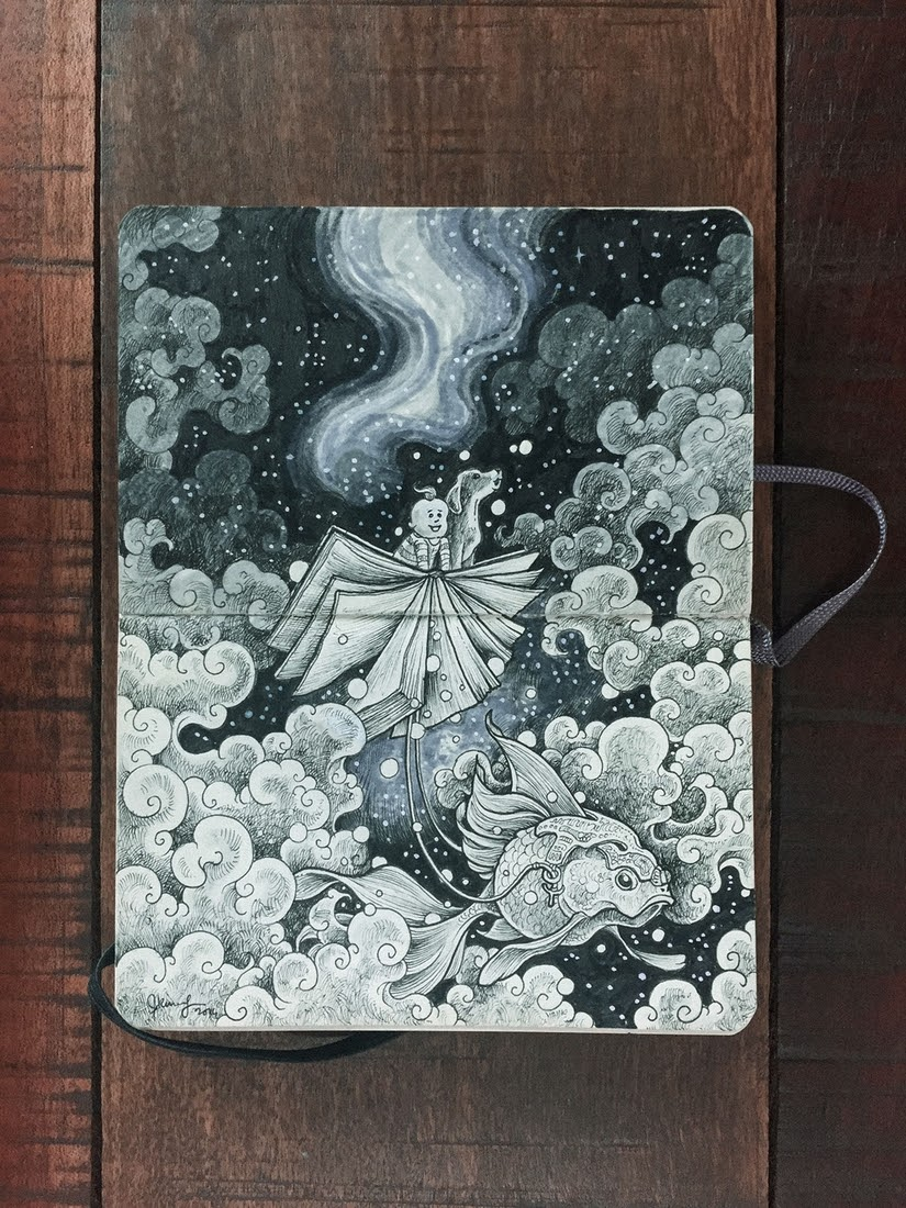 03-A-baby-his-Imagination-and-his-Dog-Kerby-Rosanes-Detailed-Moleskine-Doodles-with-many-Whales-www-designstack-co