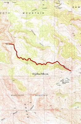 Hiking Notch Peak trail map, Delta, Utah