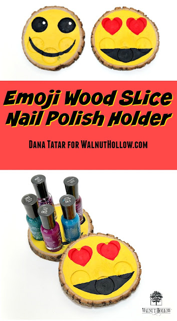 Emoji Wood Slice Nail Polish Holders Tutorial by Dana Tatar for Walnut Hollow