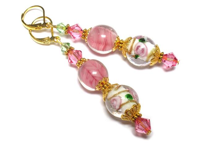 Roze romantische oorbellen