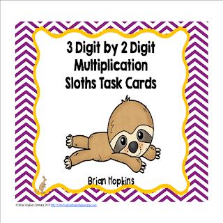 Sloths 3 Digit by 2 Digit Multiplication Task Cards