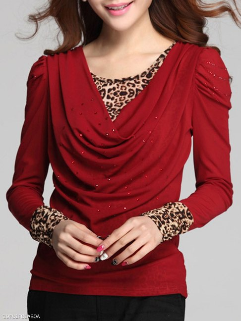 Leopard Ruched Rhinestone Long Sleeve T-Shirt- FashionMia Special Price: US$ 19.95