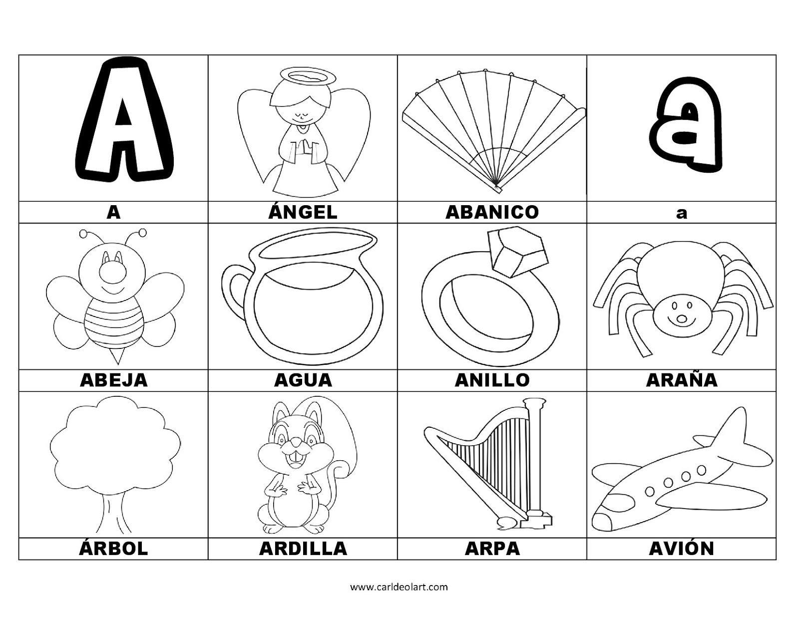 Dibujos Para Colorear Palabras Con A Dibujospacolorearcom