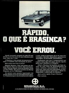 propaganda Brasinca - 1970. Reclame carro 1970; os anos 70; brazilian cars in the 70s; Oswaldo Hernandez; década de 70;