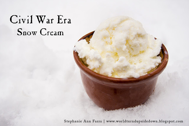Civil War Recipe Dessert Snow Cream 1850s 1860s