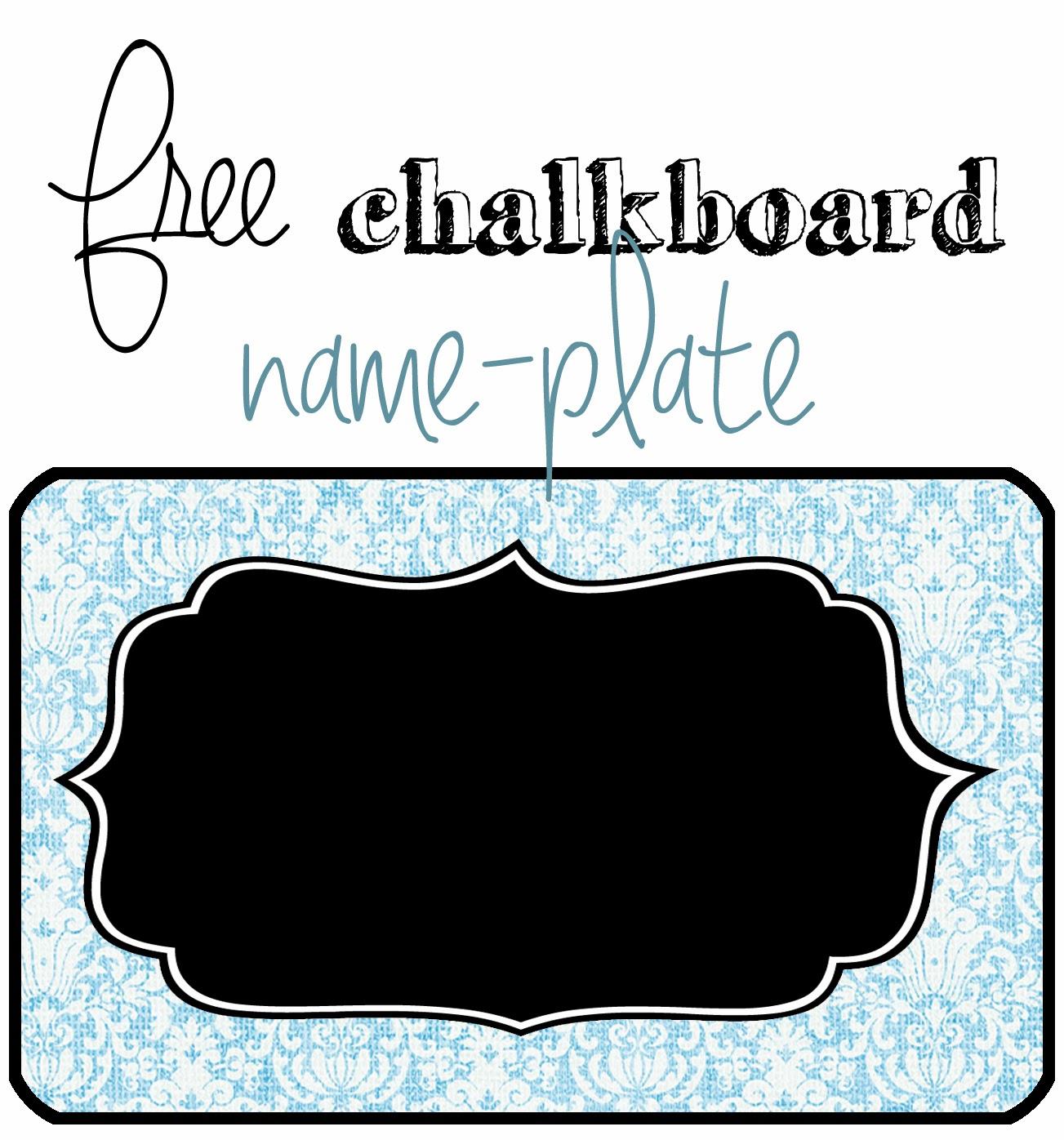 Free Chalkboard Nameplate Printable