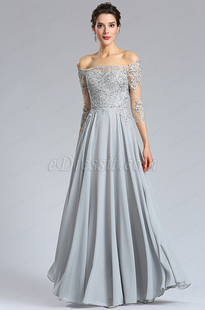 eDressit Long Sleeves Grey lace Formal Evening Dress