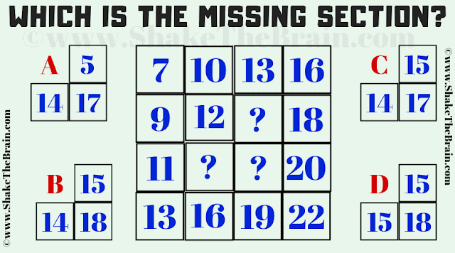 In this Missing Section Brain Teaser, your challenge is to find the value of the missing section which replaces the given question marks